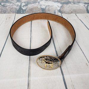 Badger Tooled Leather Belt Black Horse Buckle